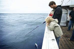 Vissen in Denemarken vader en zoon